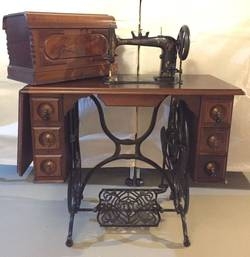 Domestic-Sewing-Machine-in-Wood-Cabinet
